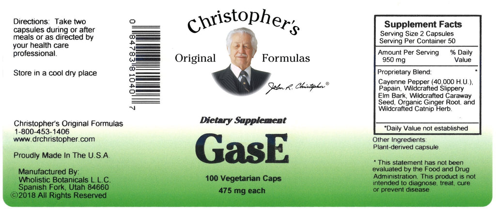 GasE - 100 Capsules - Christopher's Herb Shop