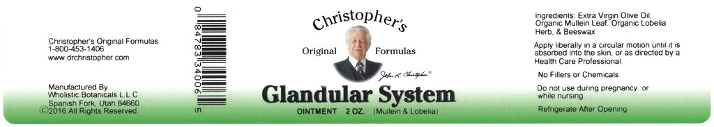 Glandular System - 2 oz. Ointment - Christopher's Herb Shop