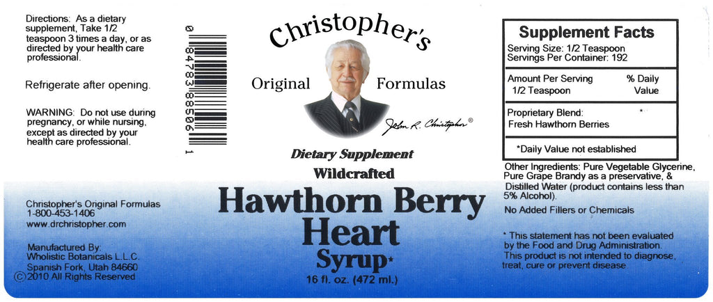 Hawthorn Berry Heart - 16 oz. Syrup - Christopher's Herb Shop