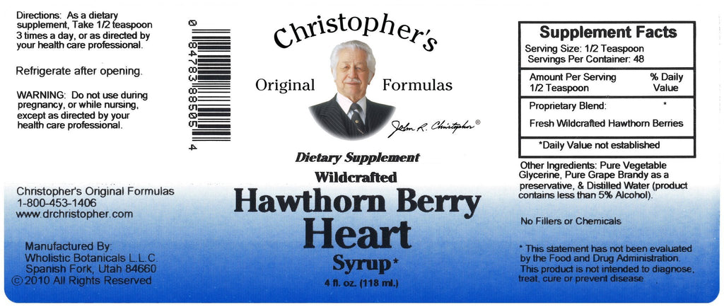 Hawthorn Berry Heart Syrup 4 oz. - Christopher's Herb Shop