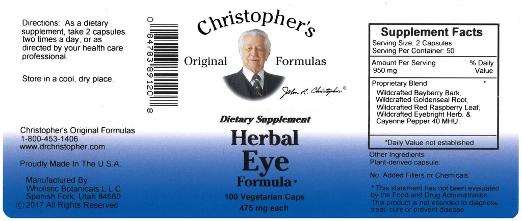 Herbal Eye - 100 Capsules - Christopher's Herb Shop