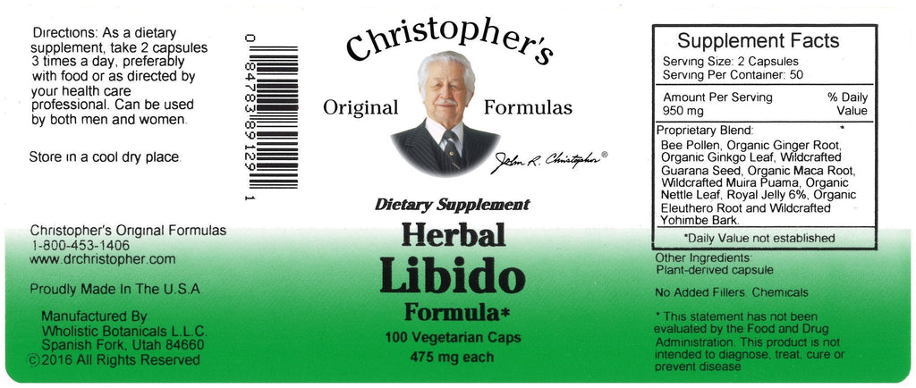 Herbal Libido - 100 Capsules - Christopher's Herb Shop