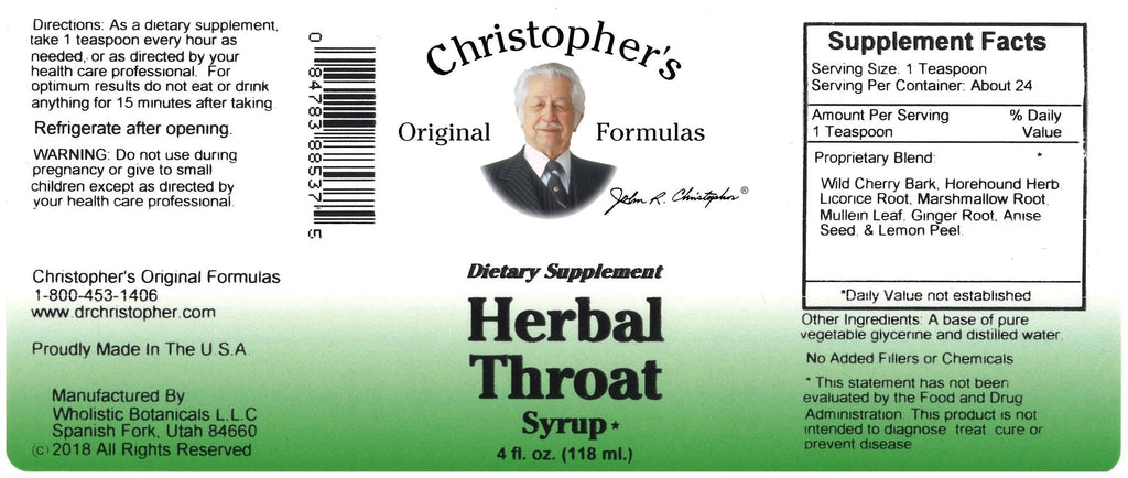 Herbal Throat Syrup - Syrup 4 oz. - Christopher's Herb Shop