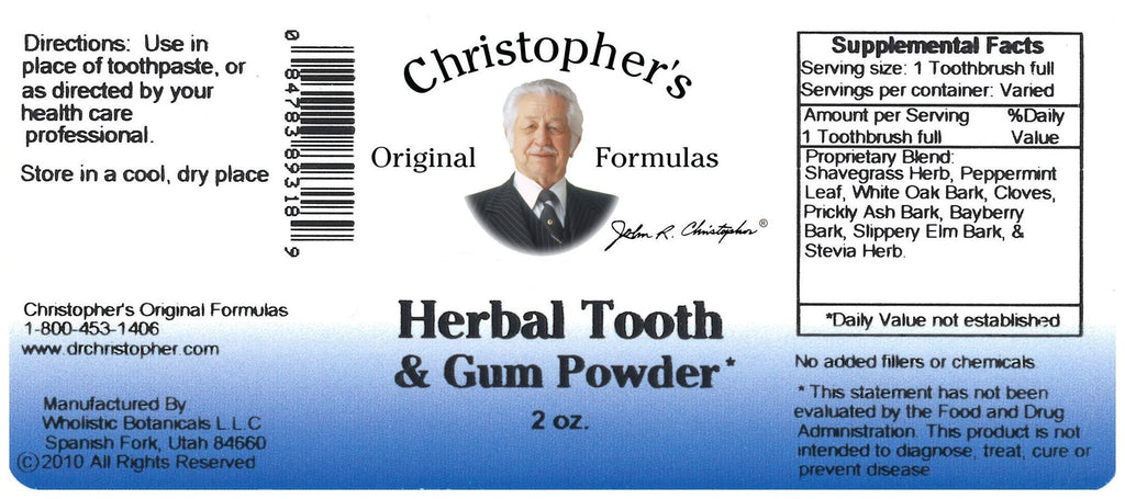 Herbal Tooth & Gum - 2 oz. Powder - Christopher's Herb Shop