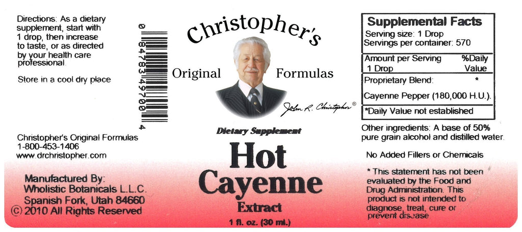 Hot Cayenne Pepper 200,000 H.U.- 1 oz. Alcohol Extract - Christopher's Herb Shop