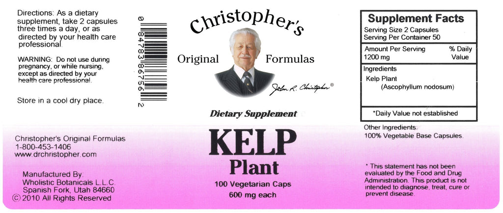 Kelp Plant - 100 Capsules - Christopher's Herb Shop