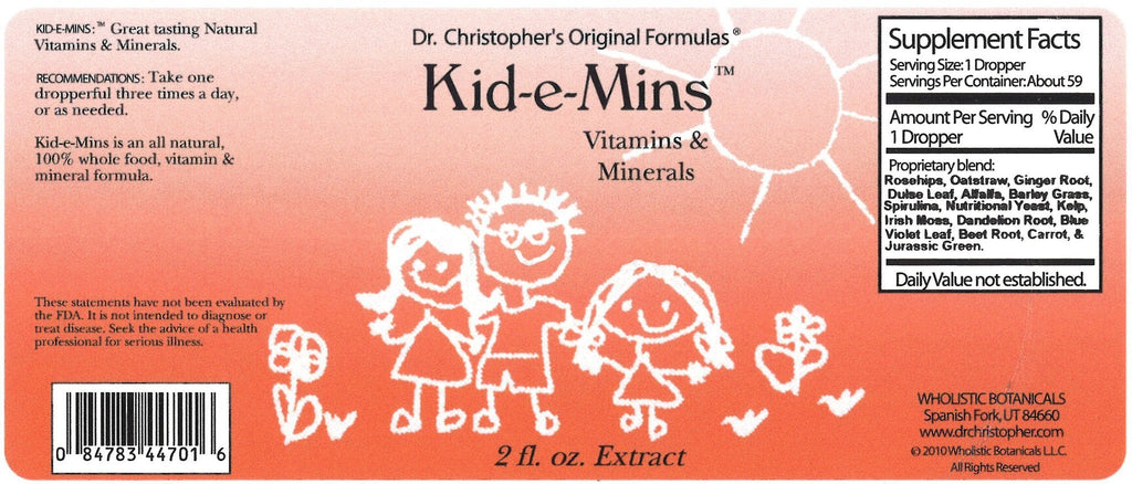 Kid-E-Mins - 2 oz. Glycerine Extract - Christopher's Herb Shop