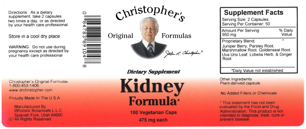 Kidney Formula - 100 Capsules - Christopher's Herb Shop