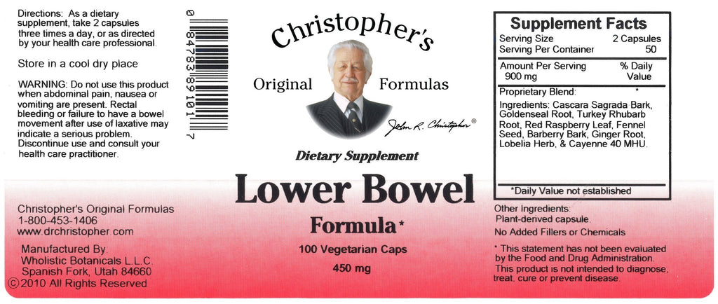 Lower Bowel - 100 Capsules - Christopher's Herb Shop