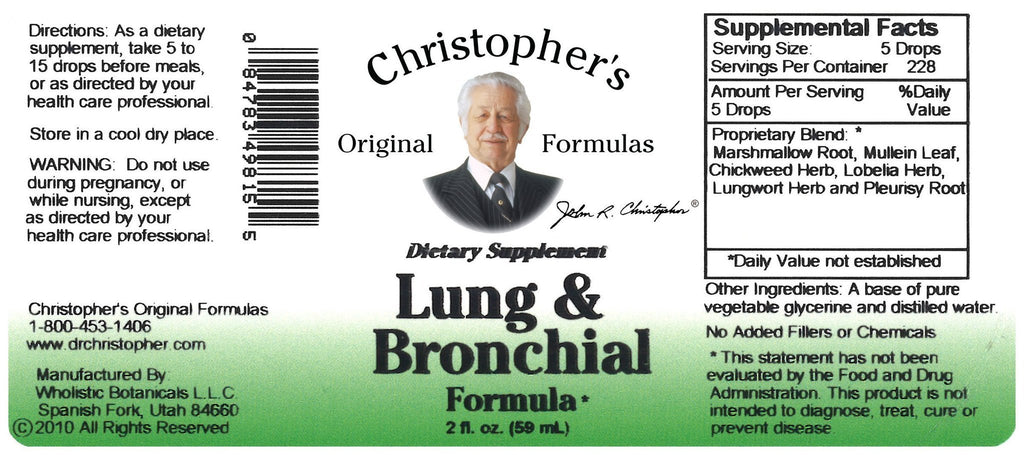 Lung & Bronchial Formula - 2 oz. Glycerine Extract - Christopher's Herb Shop