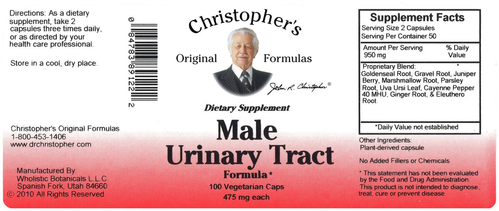 Male Urinary Tract - 100 capsules - Christopher's Herb Shop
