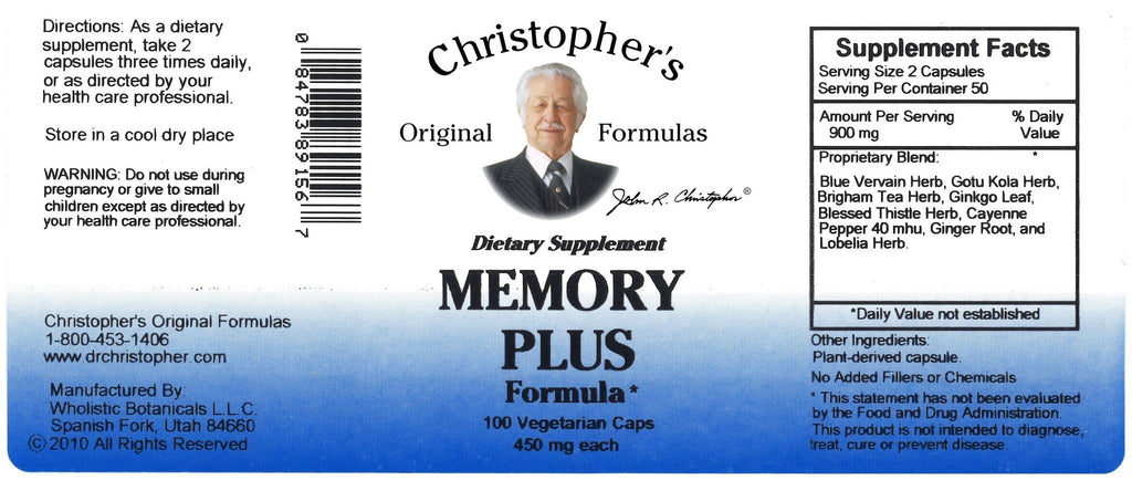 Memory Plus - 100 Capsules - Christopher's Herb Shop