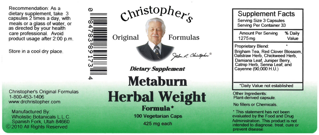 Metaburn Herbal Weight - 100 Capsules - Christopher's Herb Shop