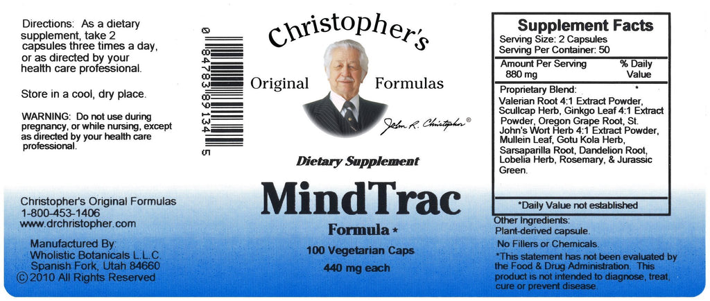 MindTrac - 100 Capsules - Christopher's Herb Shop