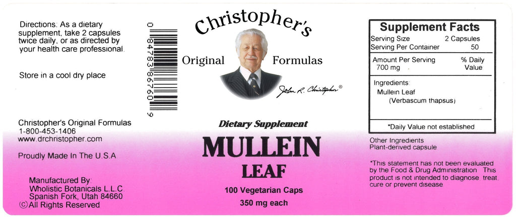 Mullein Leaf - 100 Capsules - Christopher's Herb Shop