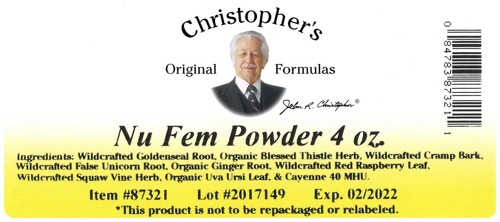 Nu Fem (Female Reproductive Formula) - Bulk 4 oz. Powder - Christopher's Herb Shop