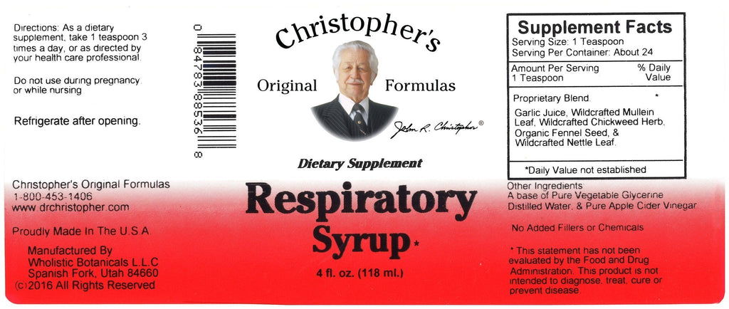 Respiratory Syrup - 4 oz. - Christopher's Herb Shop
