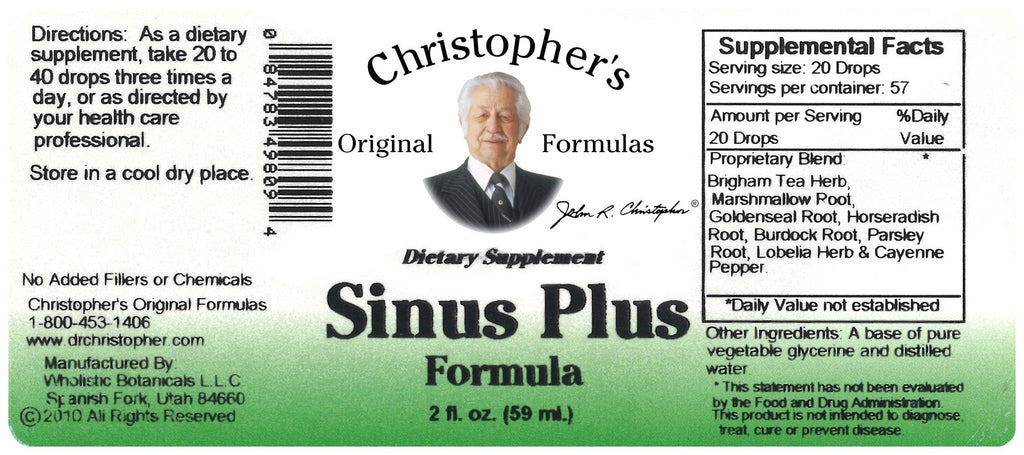 Sinus Plus - 2 oz. Glycerine Extract - Christopher's Herb Shop