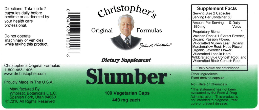 Slumber - 100 Capsules - Christopher's Herb Shop