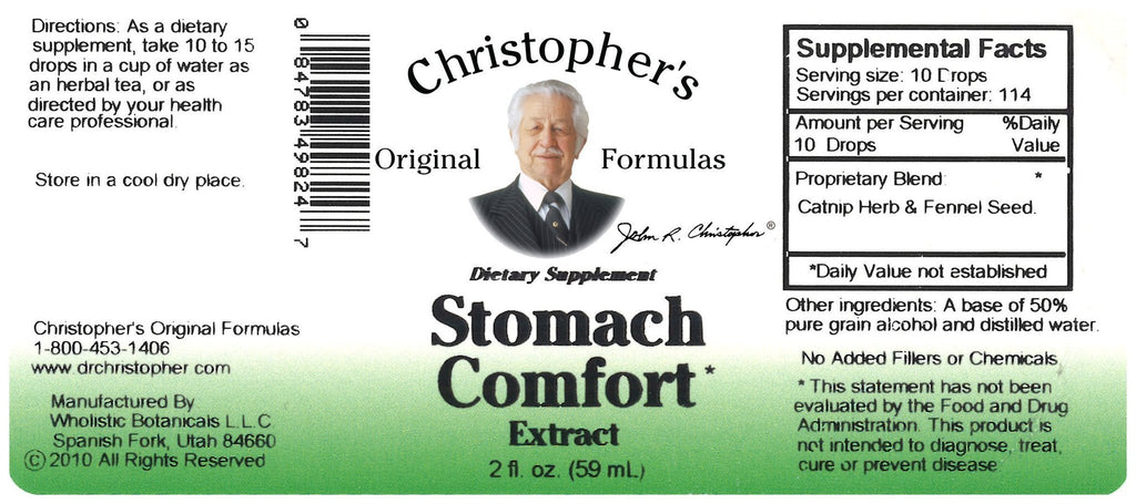 Stomach Comfort - Alcohol Extract 2 oz. - Christopher's Herb Shop