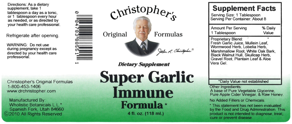 Super Garlic Immune Formula - 4 oz. - Christopher's Herb Shop