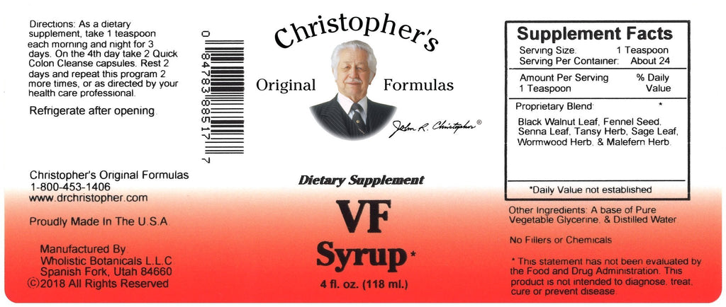 VF (Herbal Parasite) - 4 oz. Syrup - Christopher's Herb Shop