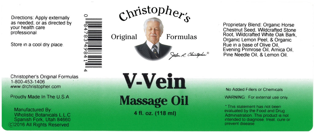 V-Vein - 4 oz. Massage Oil - Christopher's Herb Shop