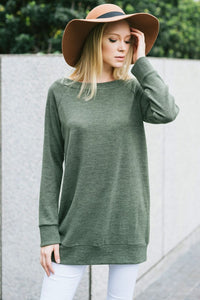 Solid wide shoulder tunic