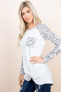 Animal Print Raglan T-Shirt with chest pocket & side knot