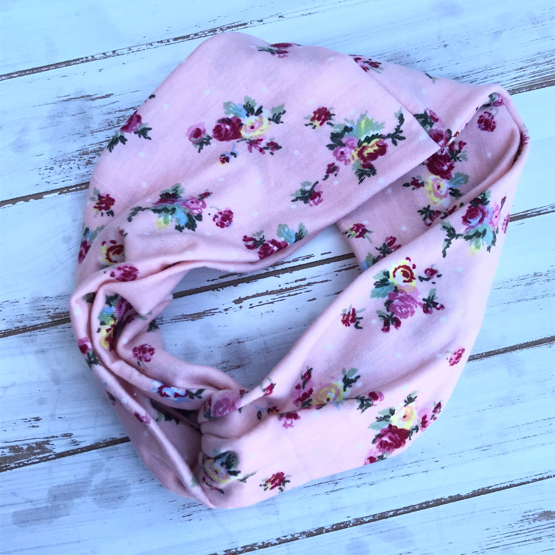 Pale Pink Floral Twisted Headband