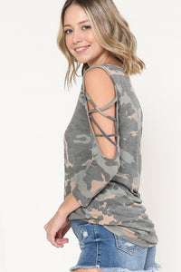 Camouflage 3/4 sleeve open shoulder cross top