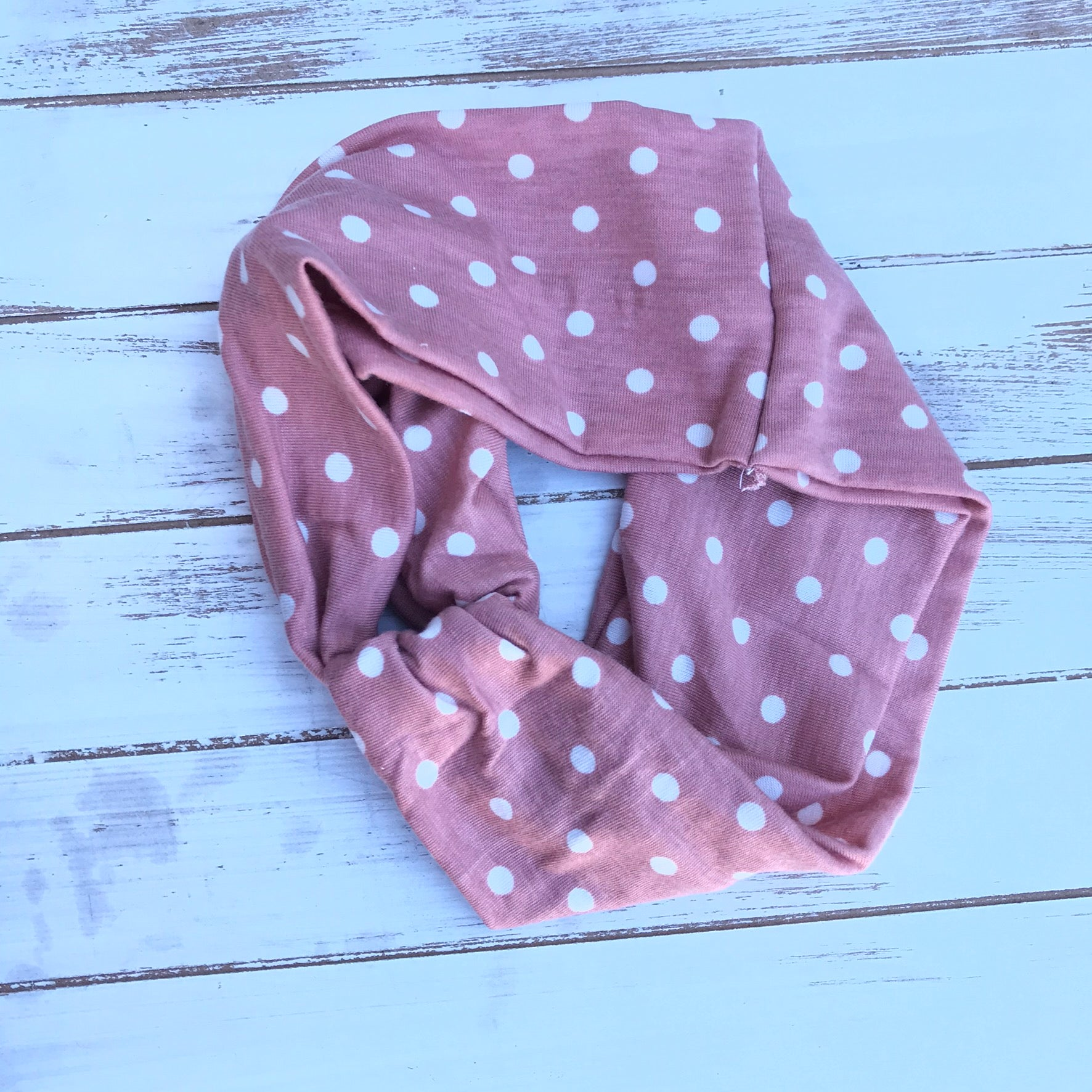 Dusty Rose and White Polka Dot Twisted Headband