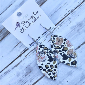 Leopard Pansy Leather Petal Earrings