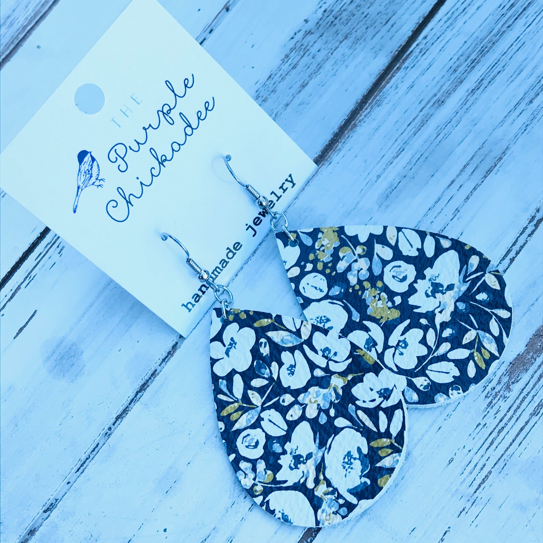 Navy Poppy Leather Teardrop Earrings
