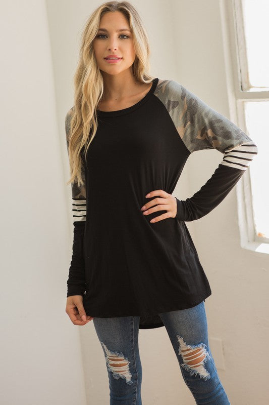 Contrast sleeve Knit Tunic Top (Black & Olive Available)