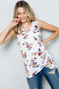 Floral print Tank With side Knot
