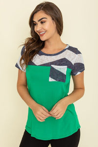 Chevron Short Sleeve Tunic (Multiple Colors Available)