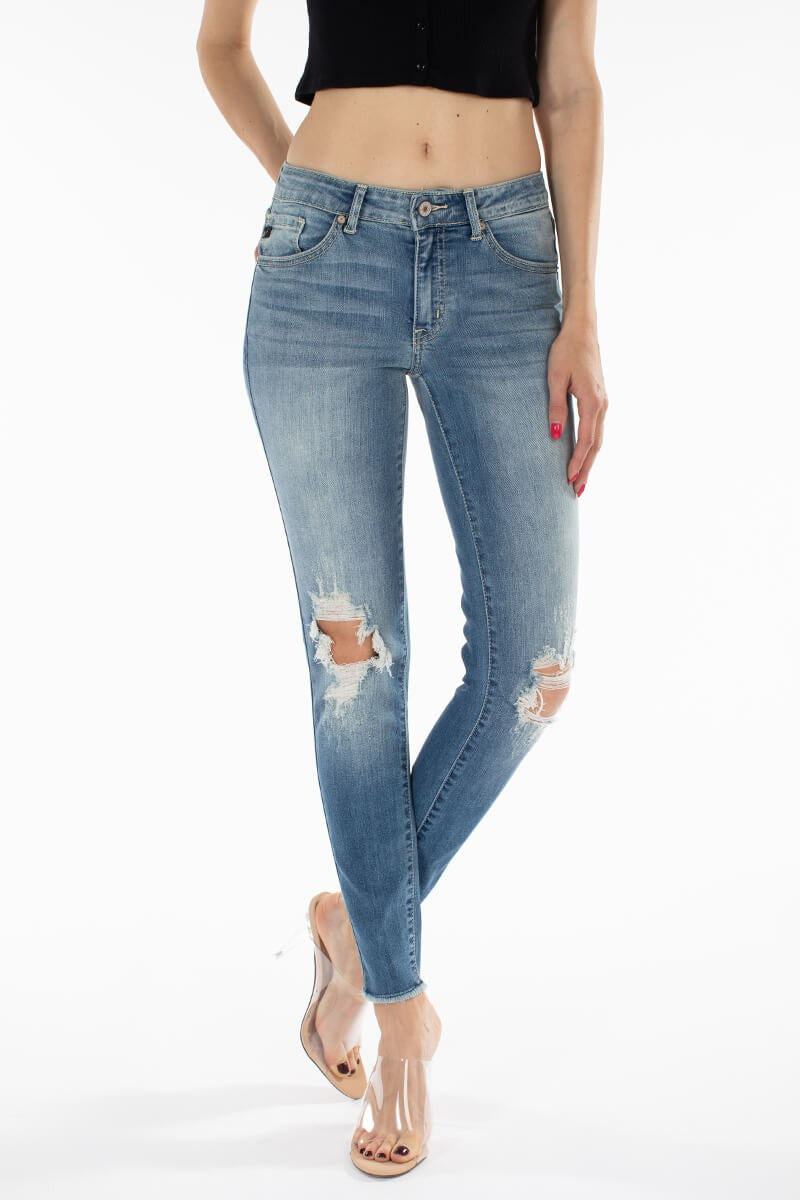 KanCan Mid-Rise Medium Wash Distressed Skinny Jean