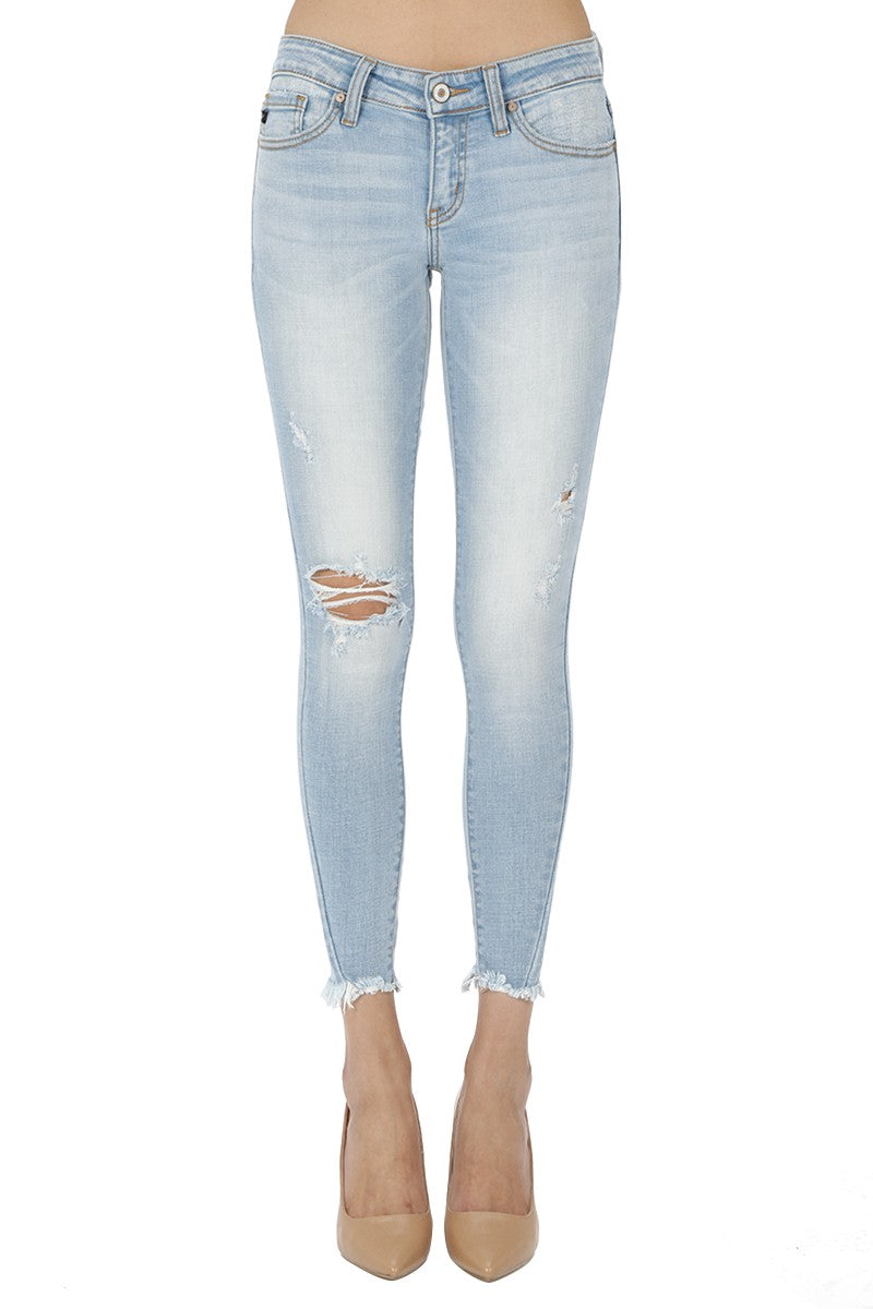 KanCan Low-Rise Light Wash Distressed Skinny Jean