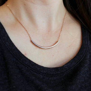 Curved Tube Necklace (Rose Gold & Silver Options)