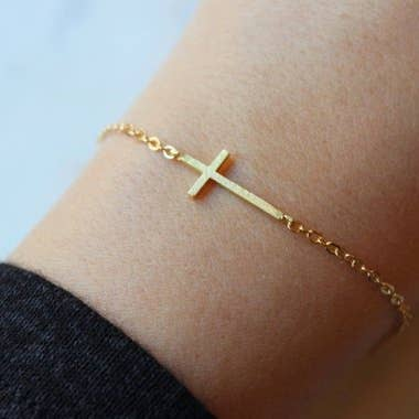 Sideways Cross Bracelet (Gold & Silver Options)
