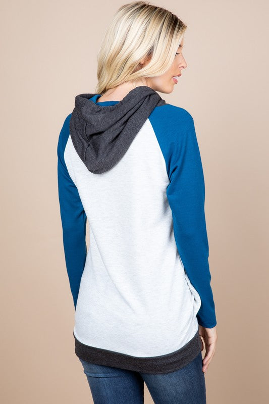 Teal French Terry Color Block Hoodie
