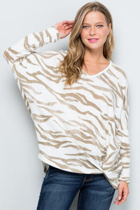 Tiger Knit Dolman Sweater with Side Knot
