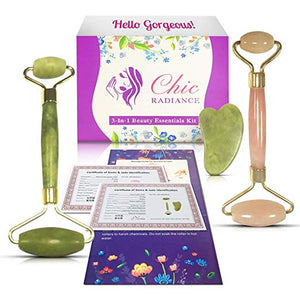 Chic Radiance 3-in-1 Beauty Essentials Kit - Jade Roller, Rose Quartz Roller and Gua Sha