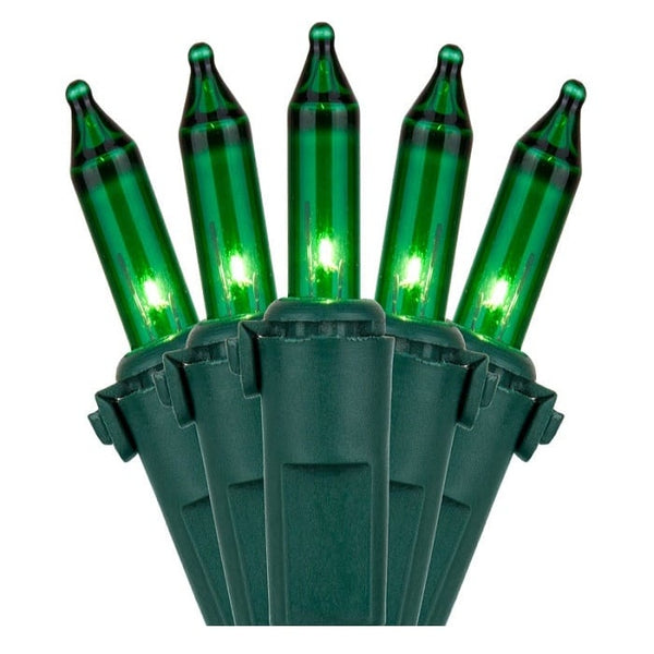 "100L Green Incandescent Mini Lights 6"" Spacing"