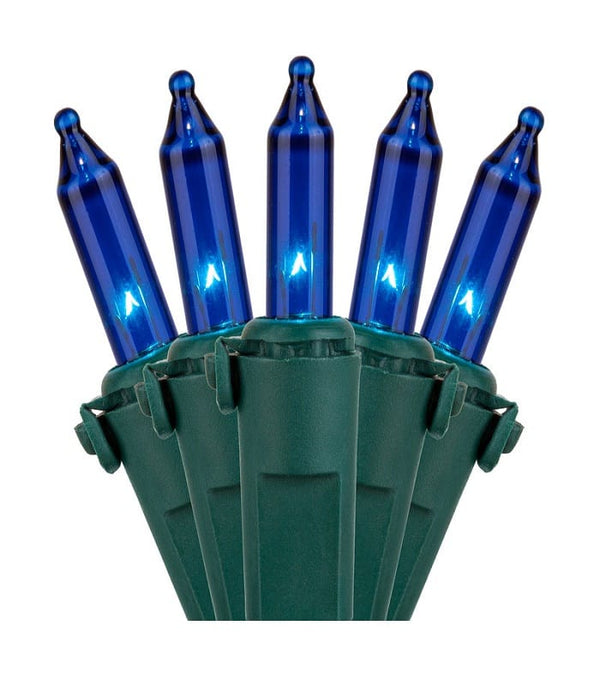 "50L Blue Incandescent Mini Lights 6"" Spacing"