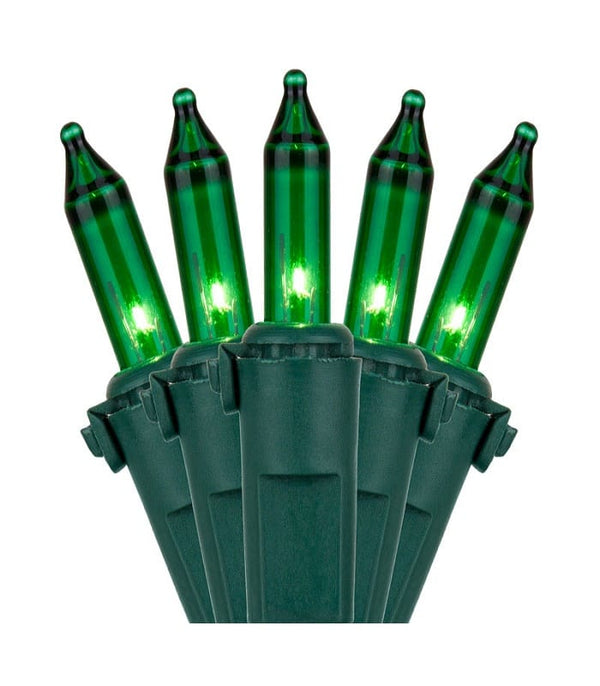 "50L Green Incandescent Mini Lights 6"" Spacing"