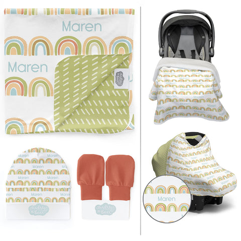 Personalized Stretchy Knit/Minky Take Me Home Bundle | Brilliant Rainbow
