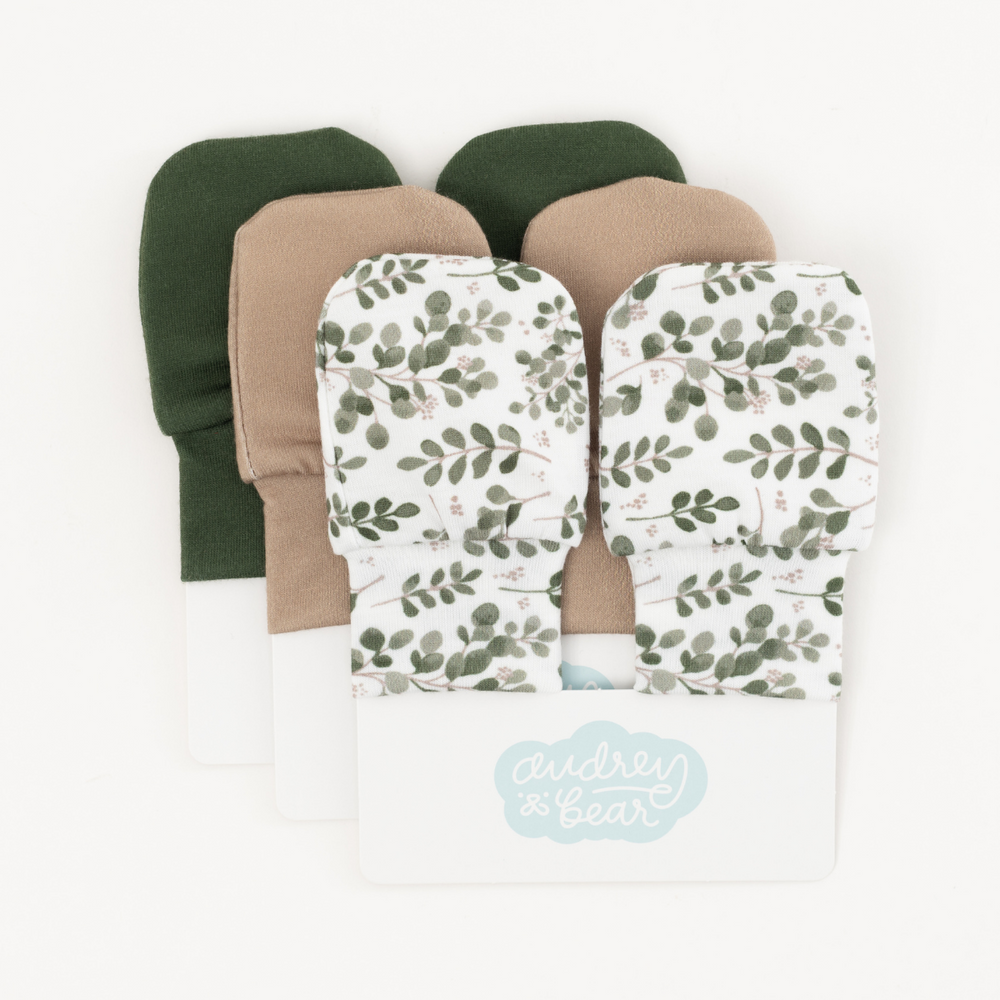Personalized Stretchy Knit No Scratch Mitten Bundle | Farmhouse Greenery