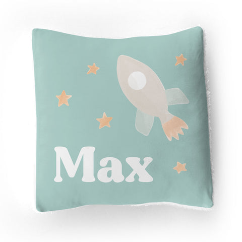 Personalized Stretchy Knit/Sherpa Throw Pillow | Bright Rockets